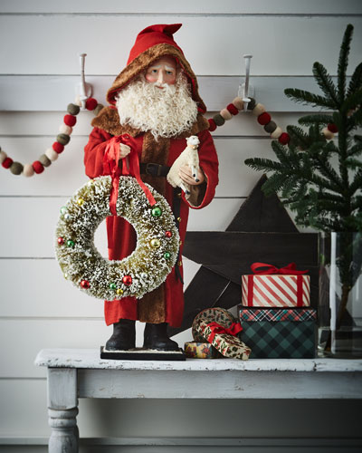 Large Father Christmas with Wreath