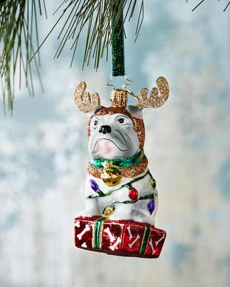 Deer Little Bulldog Christmas Ornament
