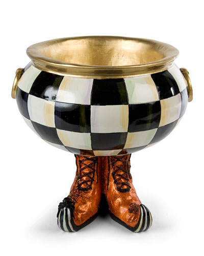 Courtly Check Cauldron Halloween Candy Bowl