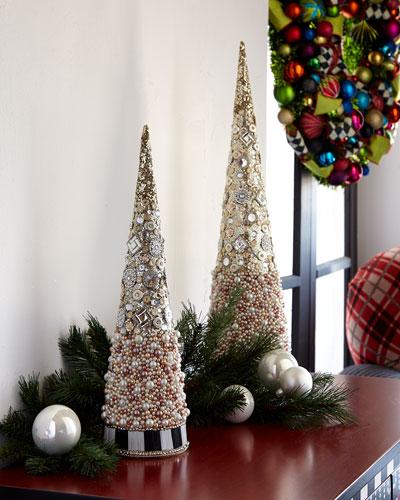 Silver Lining Beaded Small Tabletop Christmas Tree