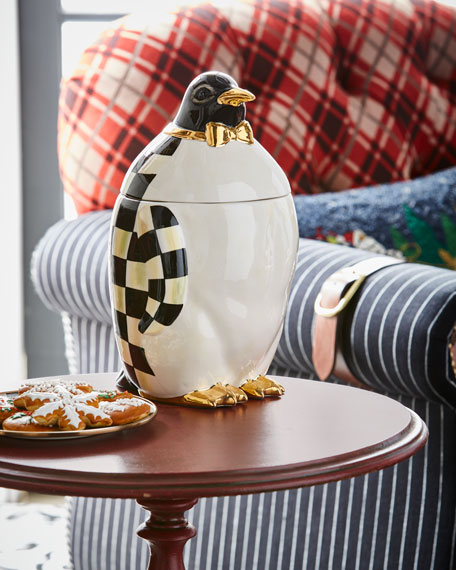 Courtly Check Penguin Cookie Jar