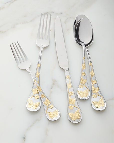 Godinger 20-Piece Gold Accent Butterfly Flatware Set