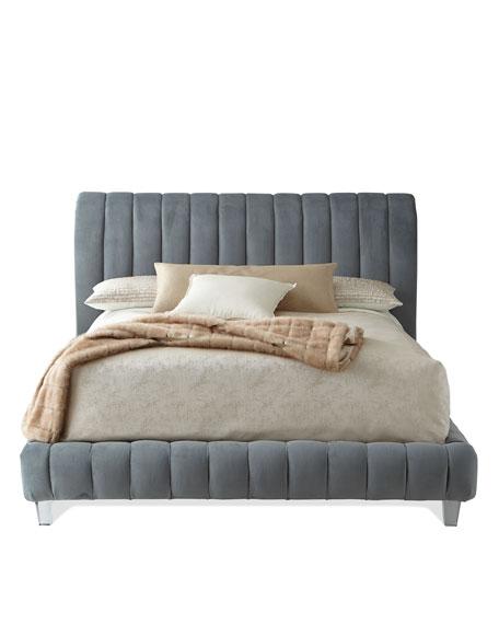 Amal Channel-Tufted Queen Platform Bed