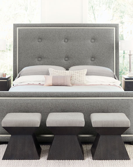 Bernhardt Decorage Tufted Stainless-Trim King Bed