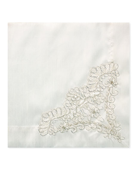 Nomi K Hand-Beaded Pearls & Embroidery Silk Napkin