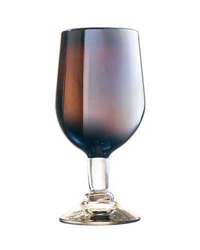 Tia Opalescent Glass Goblet - Chocolate