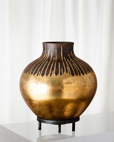Anasazi Gold Drops On-Stand Vase