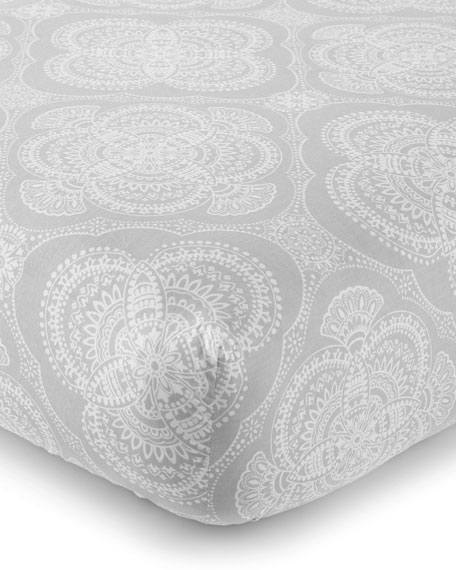 Willow Medallion Fitted Crib Sheet, Gray