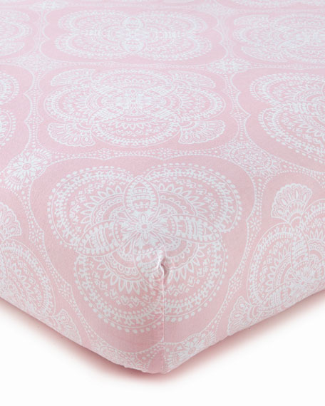 Willow Medallion Fitted Crib Sheet, Pink