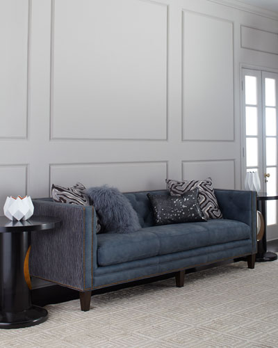Jillian Tufted Leather Sofa 90