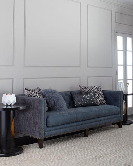 """Jillian Tufted Leather Sofa 90"""""""