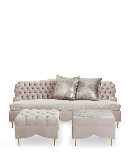 Valentina Sofa, Ottoman, and Marble-Top Side Table