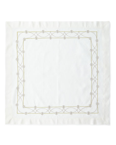 Gold and Silver Lace Embroidered Flower Linen Napkin