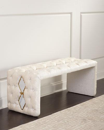 Elisa Marble Inlay Tufted Bench