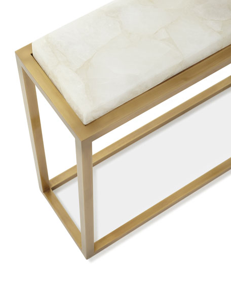Calcite Antiqued Brass Accent Table
