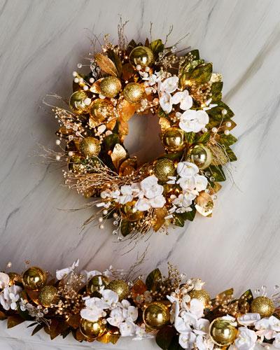 Gold Christmas 28 Prelit Wreath