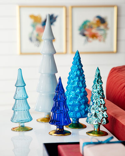 Blue Hue Trees  Set of 5