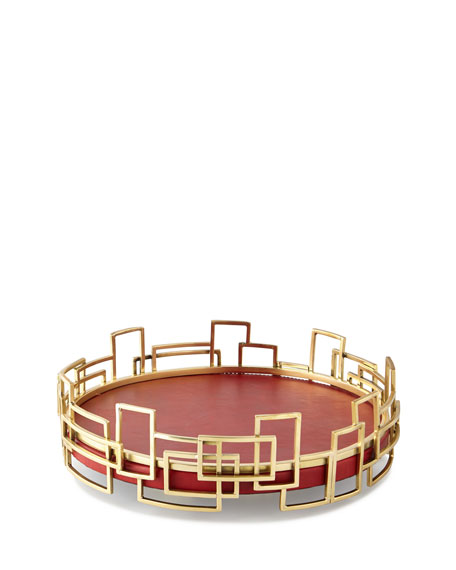 John-Richard Collection Red Shagreen Leather Tray
