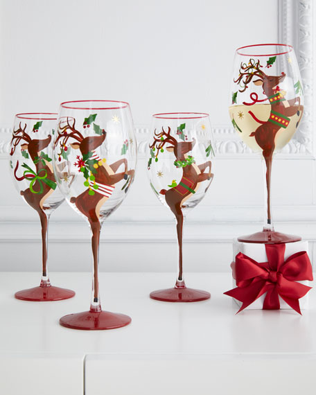 Neiman Marcus Hand-Painted Reindeer Wine Glasses, Set of