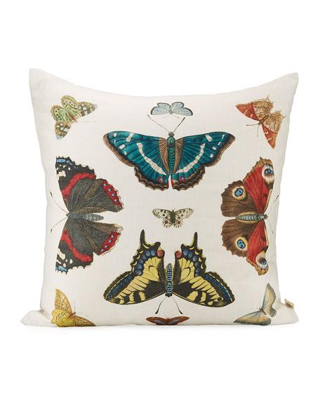 John Derian Mirrored Butterflies Carmine Pillow