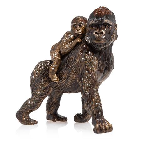Jay Strongwater Mother & Baby Gorilla Figurine