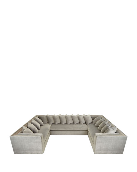 Donovan Tile Trimmed Sectional Sofa with 17 Pillows