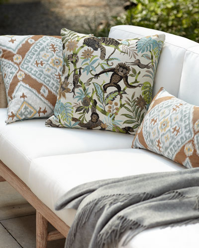Ikat Diamond Caramel Indoor/Outdoor Lumbar Pillow