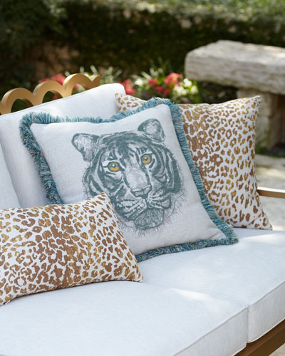 Bengal Mist Fringed Indoor/Outdoor Pillow