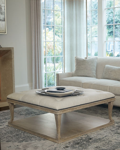 Rustic Patina Upholstered Coffee Table