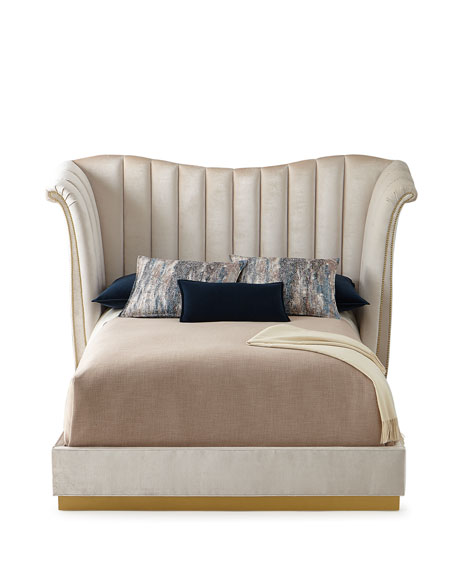 Moira Snow Channel Tufted Queen Bed