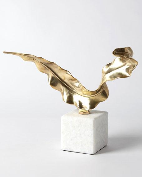 Small Brass Leaf Sculpture