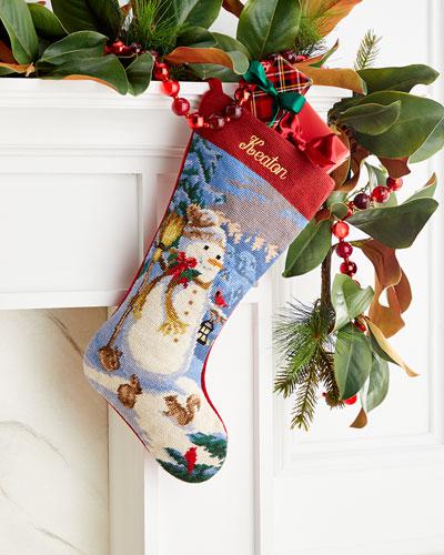 Needlepoint Snowman Stocking  Personalized