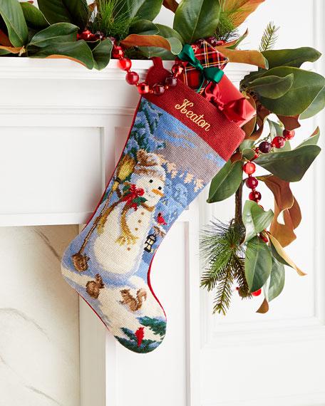 Needlepoint Snowman Stocking, Personalized