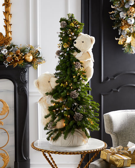 """Opulent Play Lighted Christmas Tree with Plush Bears, 40"""""""