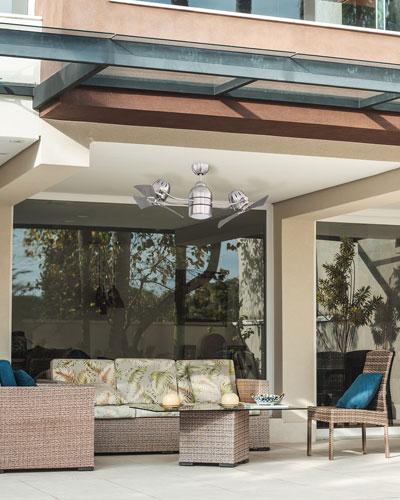 Bellows Duo 18 Dual Head Indoor/Outdoor Ceiling Fan  Brushed Nickel
