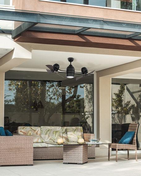 """Bellows Duo 18"""" Dual Head Indoor/Outdoor Ceiling Fan, Flat Black"""