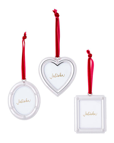 Berry & Thread Silver Metal Frame Ornaments  Set of 3