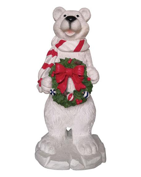 """47"""" Polar Bear with Christmas Wreath"""