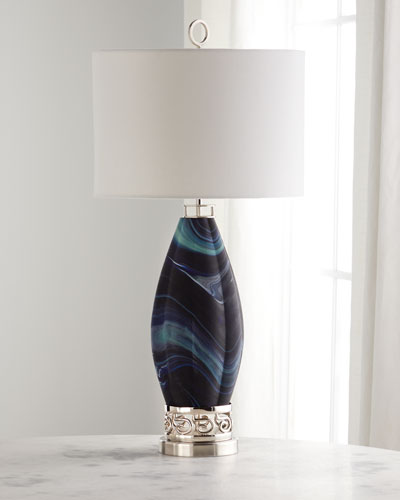 Navy Blue Northern Lights Table Lamp