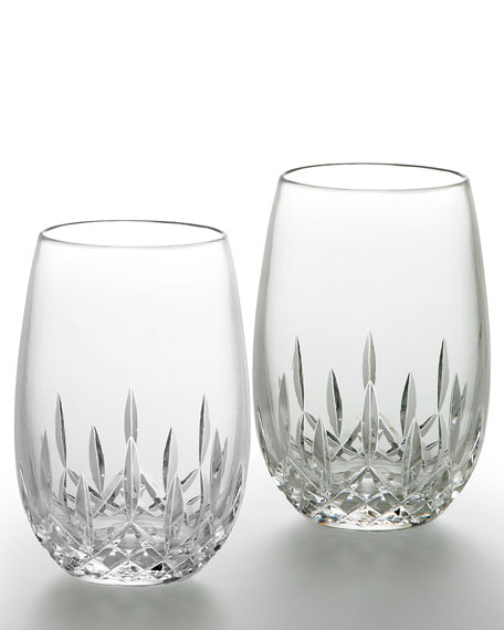 Lismore Nouveau Stemless Deep Red Wine Glasses, Set of 2