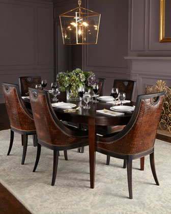 Cinda Leather Dining Chair & Allerton Dining Table