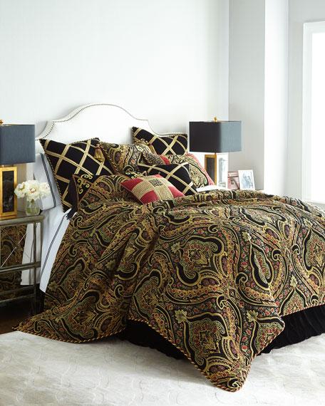 """Marrakesh Black Velvet Pillow with Gimp Trellis, 18""""Sq."""