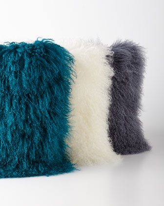 Teal, White, & Steel Tibetan Lamb Pillows