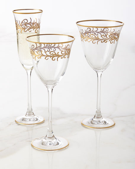"""Oro Bello"" Wine Goblets, Set of 4"
