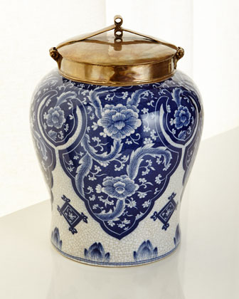 Large Blue and White Lidded Jar and Matching Items