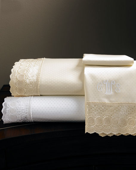 Two Standard Marcus Collection 400 Thread-Count Lace-Trimmed Pillowcases