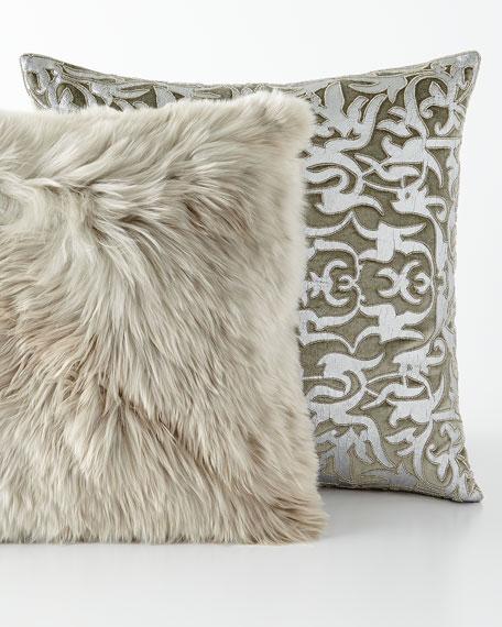 "Gray Alpaca Pillow, 20""Sq."