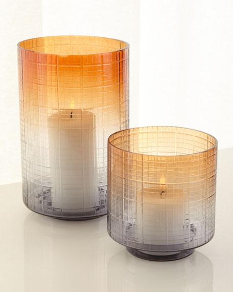 Large Cut Glass Ombre Hurricane Vase