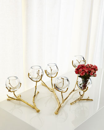 Twig Brass Three-Vase Holder  and Matching Items