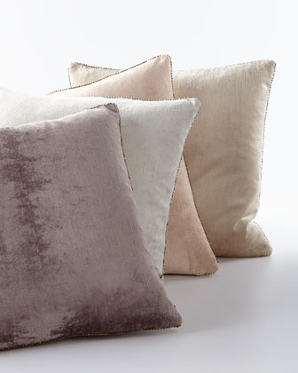 Beaded-Edge Velvet Pillow in Gray, 18